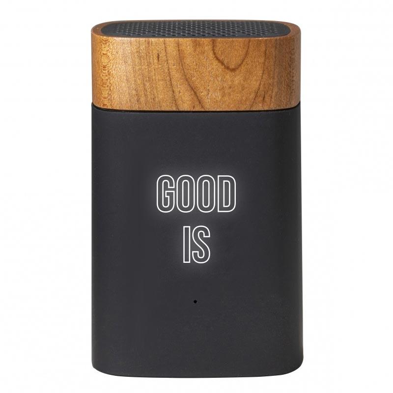 Enceinte nomade publicitaire en bois Clever Eco - logo lumineux