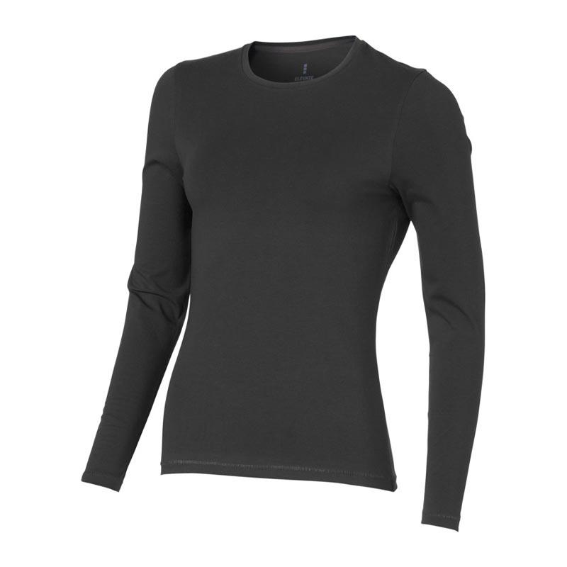 T-shirt bio publicitaire pour femmes manches longues Ponoka  noir