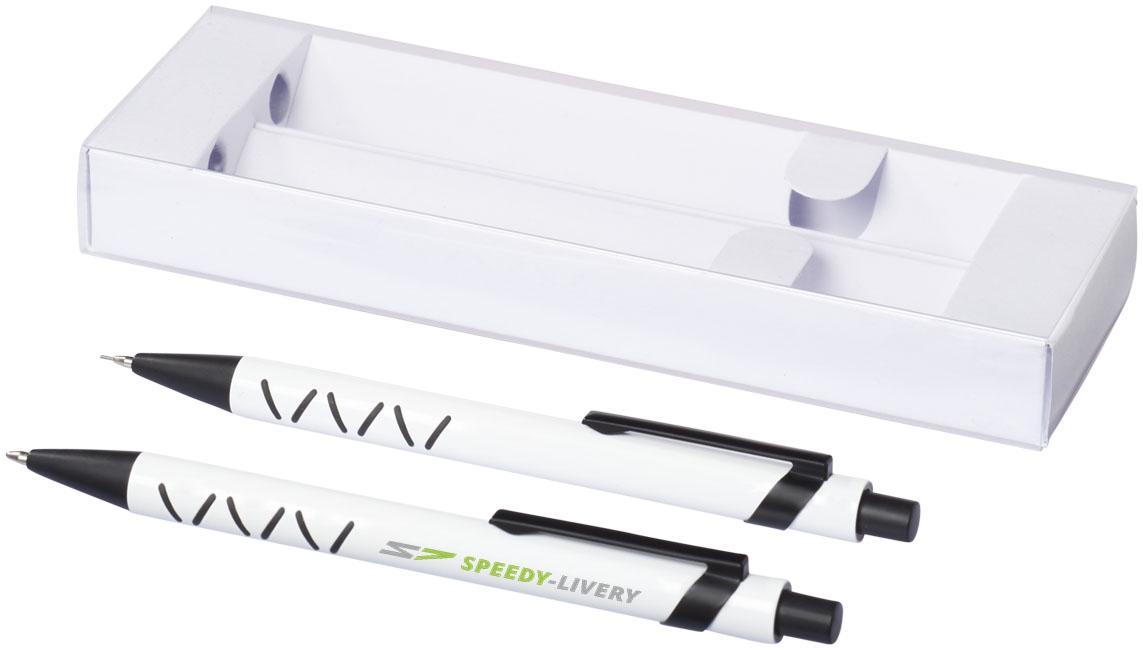 Set stylo bille publicitaire et crayon mine Jupiter blanc