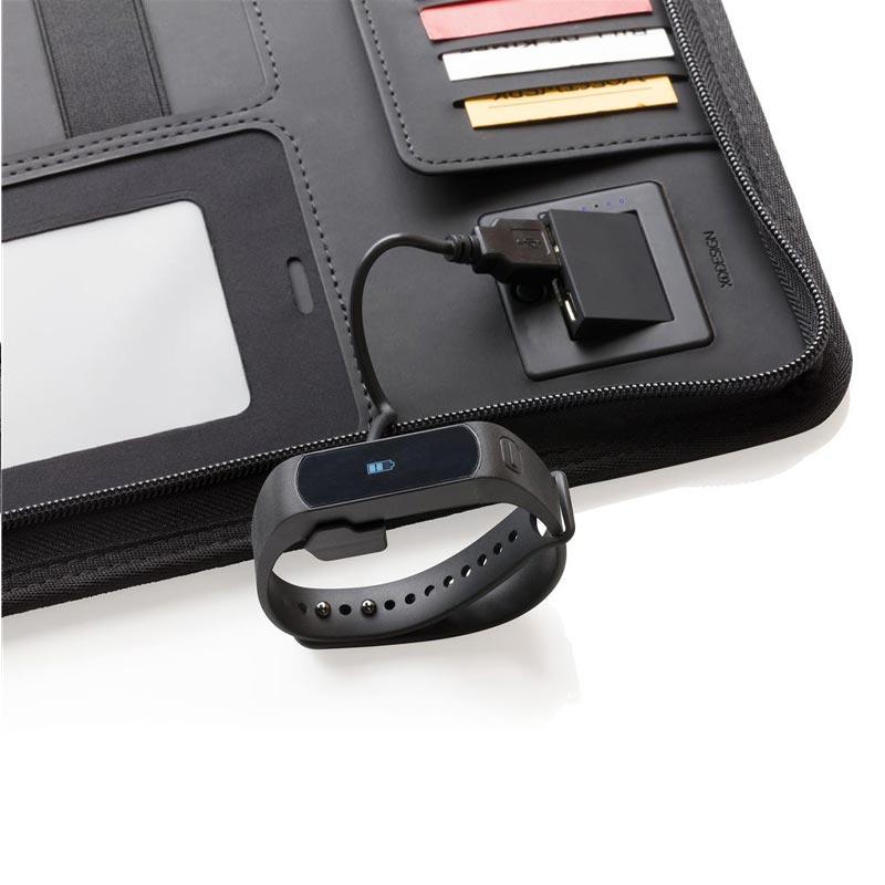 Conférencier personnalisable A4 avec chargeur à induction Air - Cadeau d'entreprise