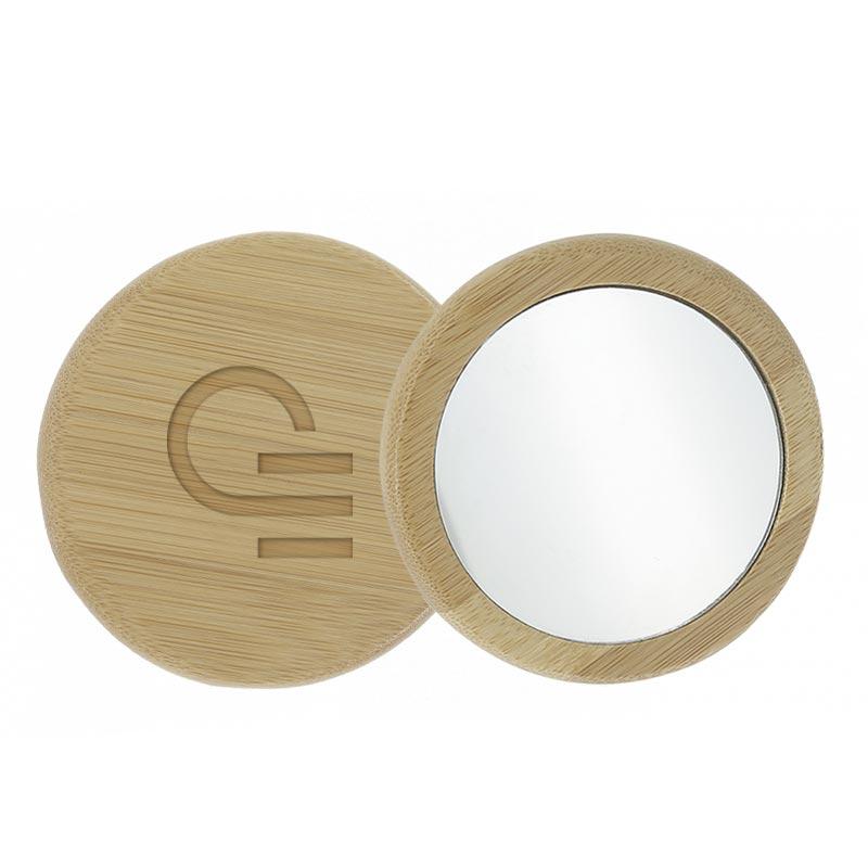 miroir de poche publicitaire 1 face en bambou