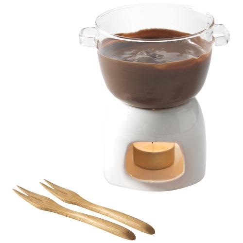 Cadeau publicitaire pour Noël - Ensemble en verre pour fondue au chocolat