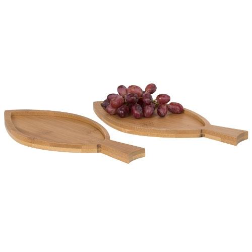 Cadeau publicitaire - Plateau en bambou poisson Amuse 2 pièces