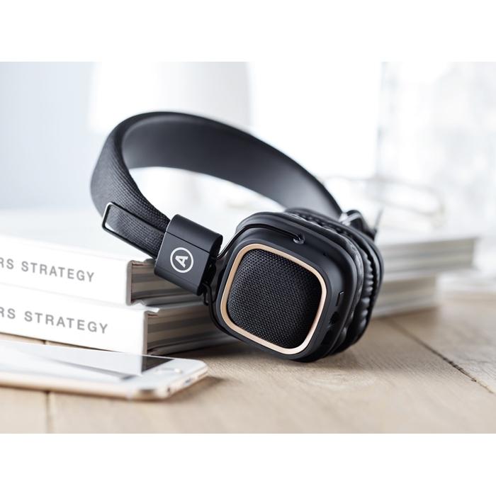 Cadeau d'entreprise - Casque vintage Bluetooth® publicitaire Rhythm