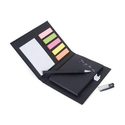Bloc-notes publicitaire A7 adhesifs et stylo Black - Bloc-notes publicitaire écologique