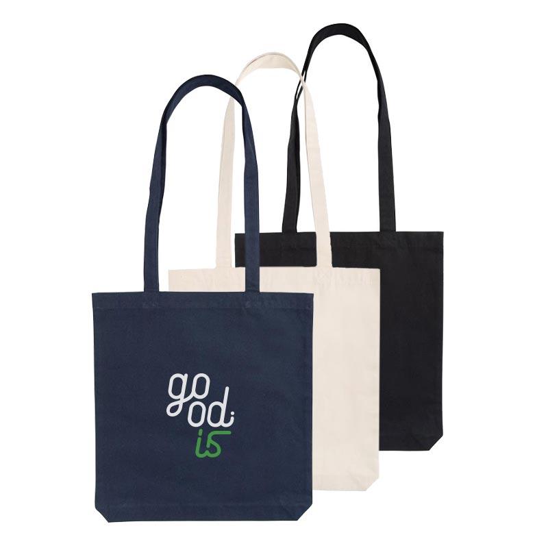 3 tote bag en coton recyclé 330 g Aware bleu, noir, écru