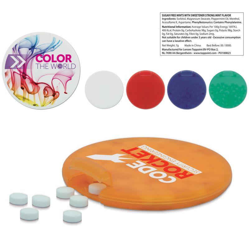 Distributeur de bonbons menthe Circly - boîte de bonbons publicitaire