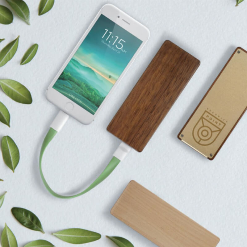 Powerbank publicitaire - Chargeur nomade Wooding