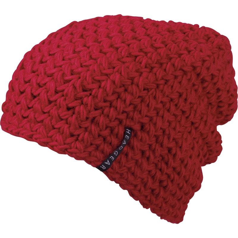 Bonnet personnalisé tricot crocheté Beanie - orange