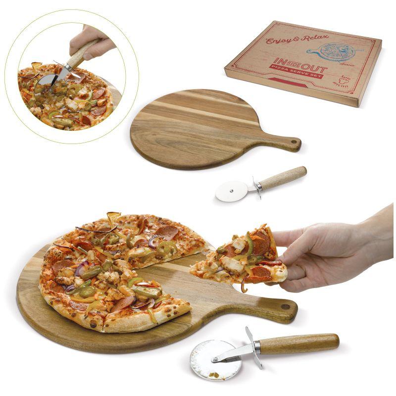 cadeau d'entreprise écologique - Set à pizza publicitaire bois Pize