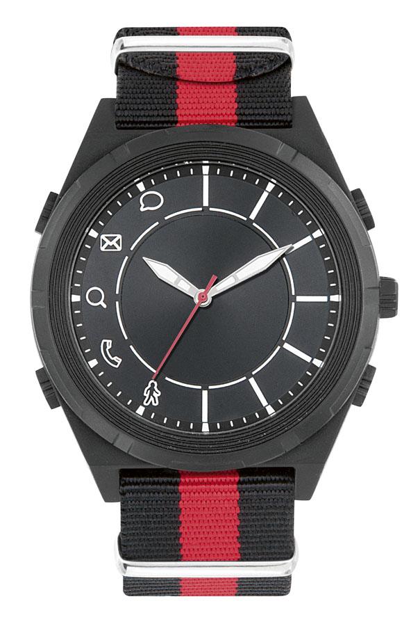 Montre connectée promotionnelle Tendance - cadeau d'entreprise - Bracelet nato noir/gris