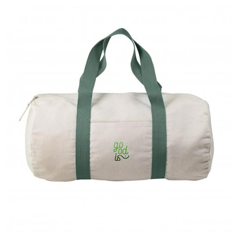 Sac publicitaire sport polochon en coton recyclé Magnum - Coloris vert