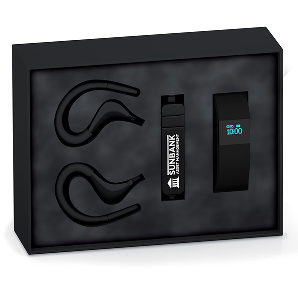 Coffret Connect Sport Noir - objet publicitaire pour le sport