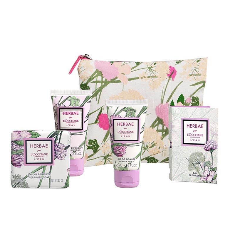 Pochette de voyage en coton avec produits cosmétiques L'Occitane en Provence