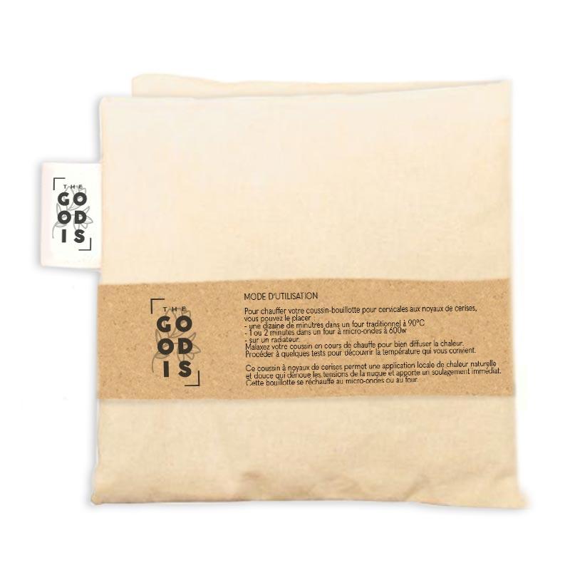 Coussin de noyaux de cerise publicitaire en coton bio 2 compartiments - Marquage logo