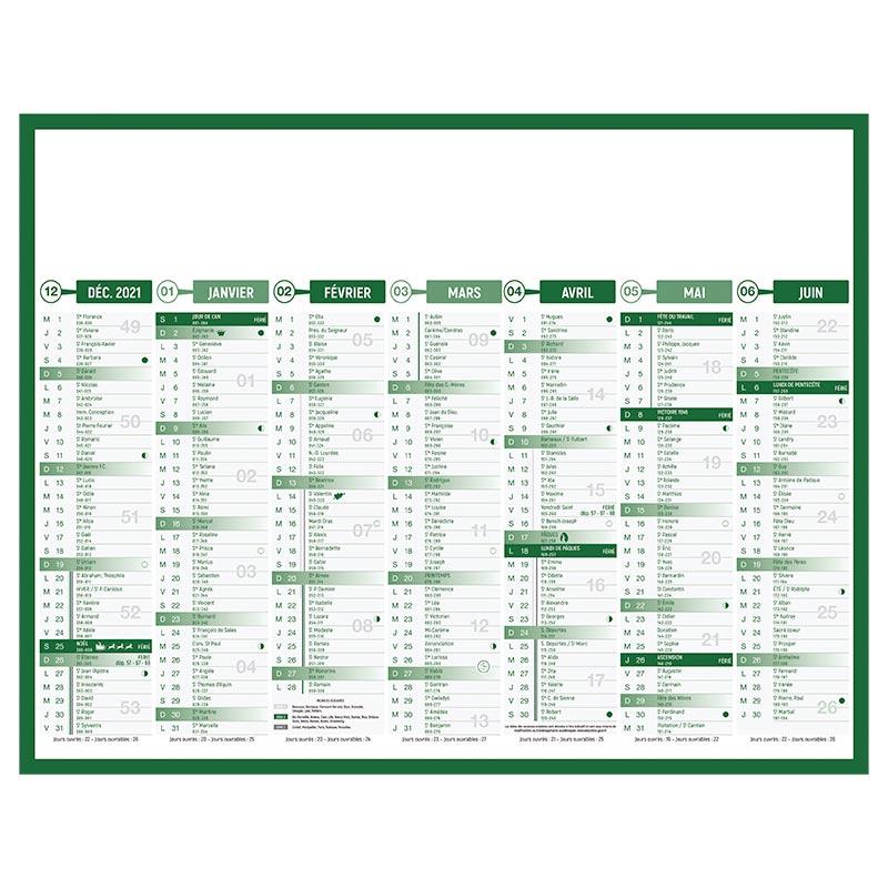 Calendrier publicitaire bancaire standard grille 2022