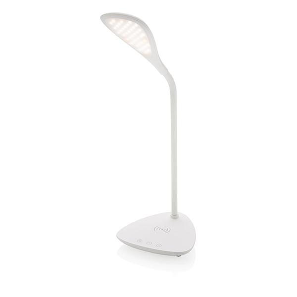 Lampe de bureau publicitaire avec station de charge induction Pétale - Cadeau publicitaire