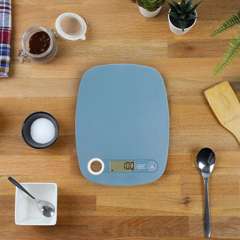 Balance de cuisine publicitaire électronique Hilda - Coloris bleu clair