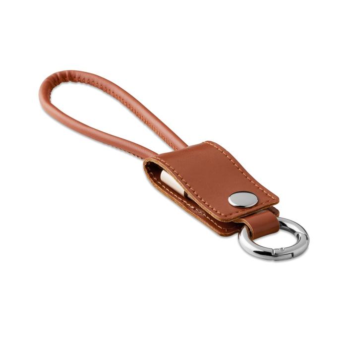 Porte clés publicitaire avec 3 câbles Liso  - simili cuir marron