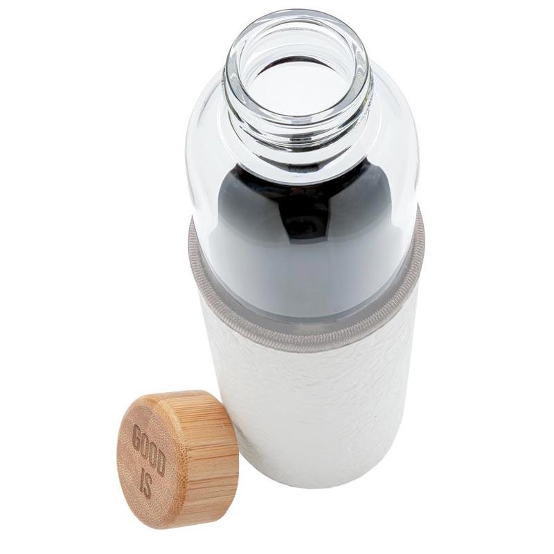 Vue de dessus bouteille en verre Textura avec housse