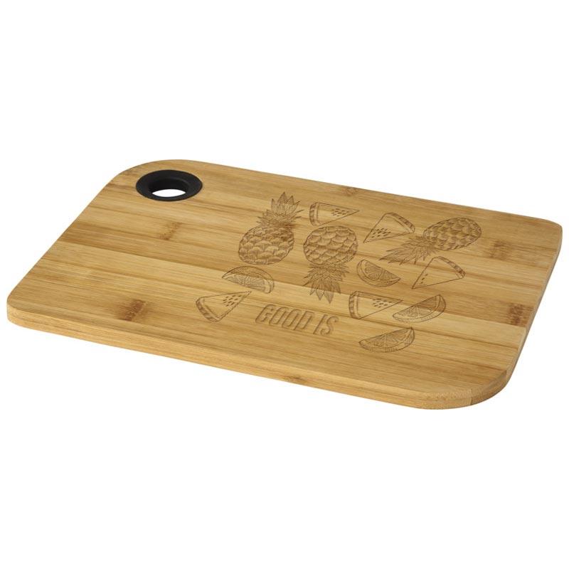 Planche à découper publicitaire Main en bambou - Cadeau d'entreprise cuisine