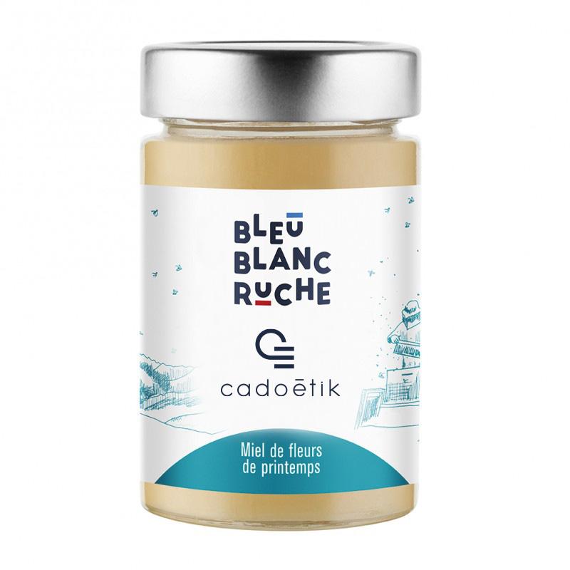 Pot de miel de fleurs de printemps personnalisable Bleu Blanc Ruche