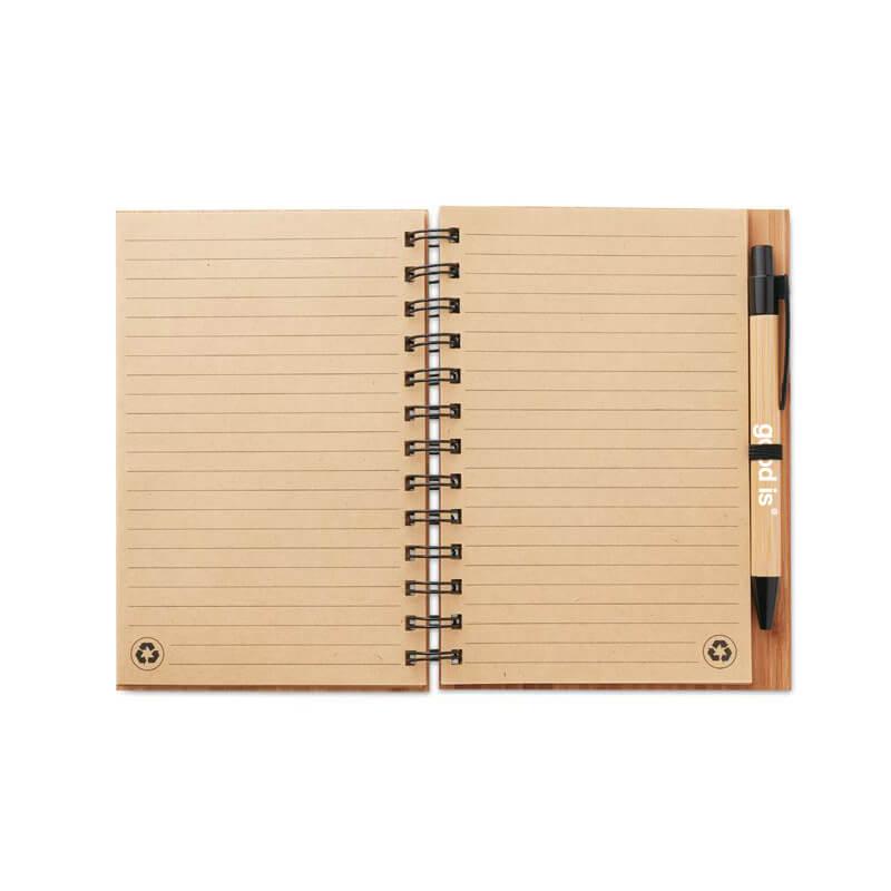 Carnet et stylo en bambou publicitaire Bambloc
