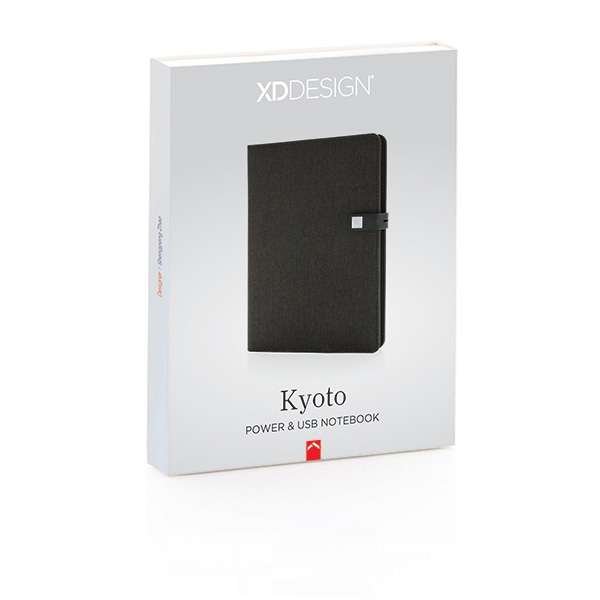 Housse personnalisée à carnet de notes A5 avec powerbank et clé USB Kyoto