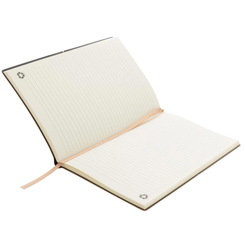 Carnet A5 en cuir recyclé Hiako - pages lignées