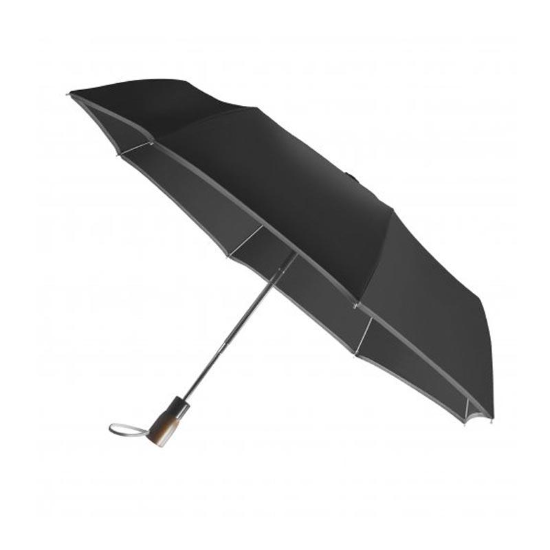 Parapluie publicitaire écologique pliable Lumirain - noir