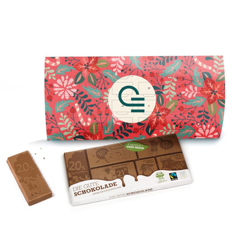 Calendrier de l'Avent publicitaire du changement avec chocolat au lait Swiss
