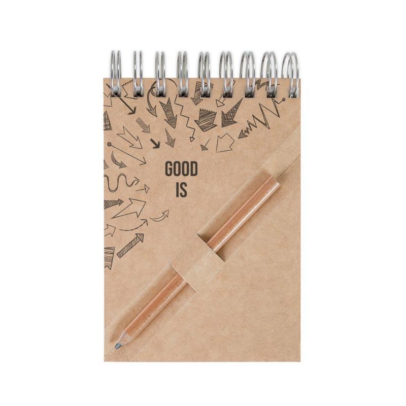 Bloc-notes publicitaire A7 en recyclé avec crayon agenda Ecopaper - Coloris kraft