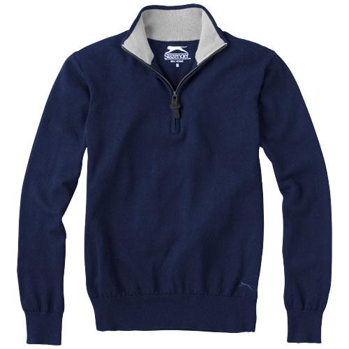Pullover coton personnalisable col zip Set marine - vêtement publicitaire