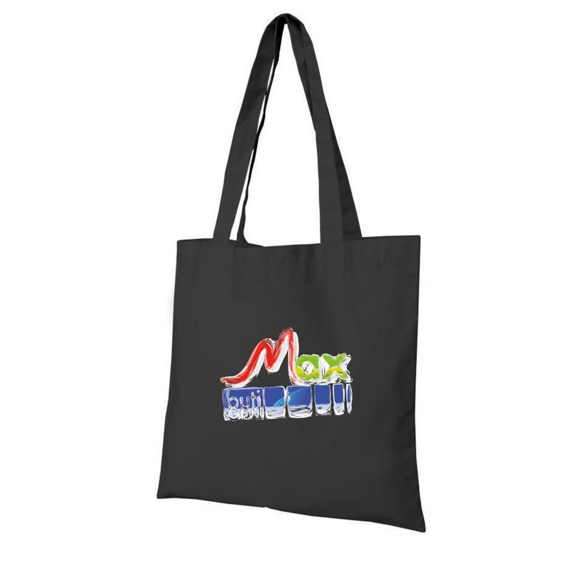 Tote bag personnalisé Kampur noir - sac tissu publicitaire en coton