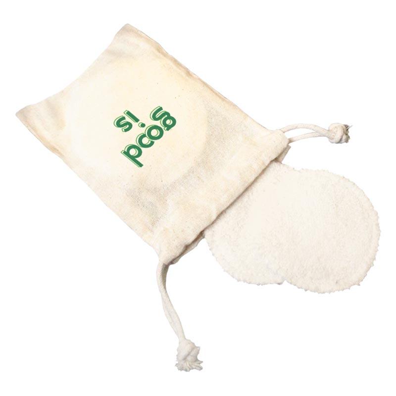 Disques démaquillants publicitaires en coton éponge - Pochette personnalisable