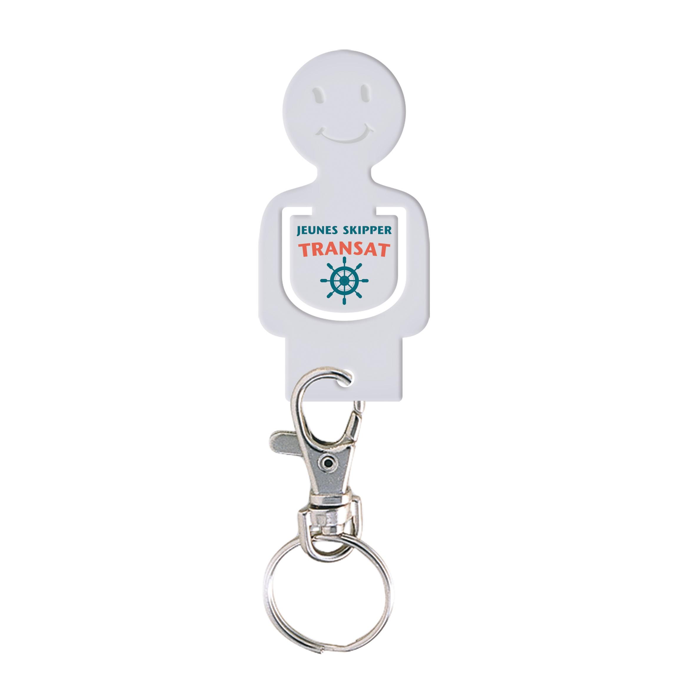 Porte-clés personnalisable jeton caddie Figurine - Goodies salon - blanc