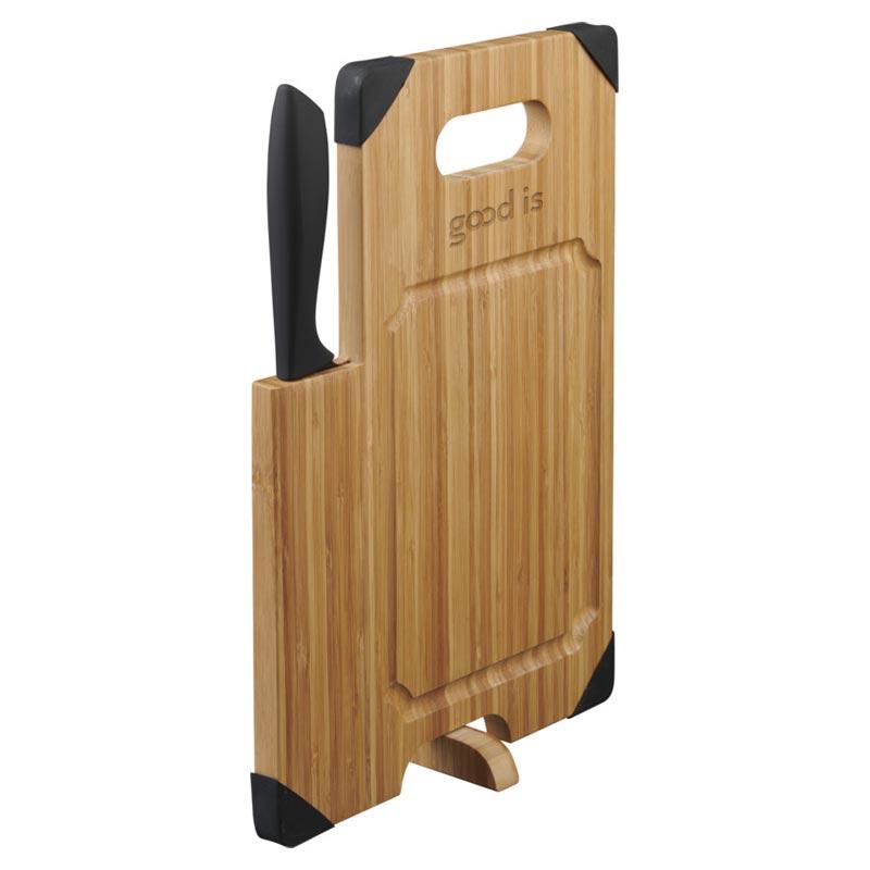 Cadeau d'entreprise cuisine - Planche à découper en bambou avec couteau