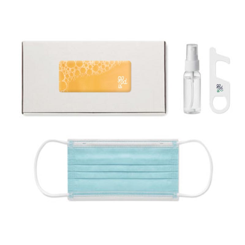Kit de protection covid avec boîte en carton personnalisable