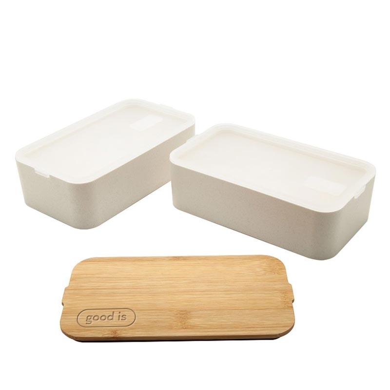 Lunch box publicitaire en fibre de blé Mihara - Cadeau d'entreprise RSE