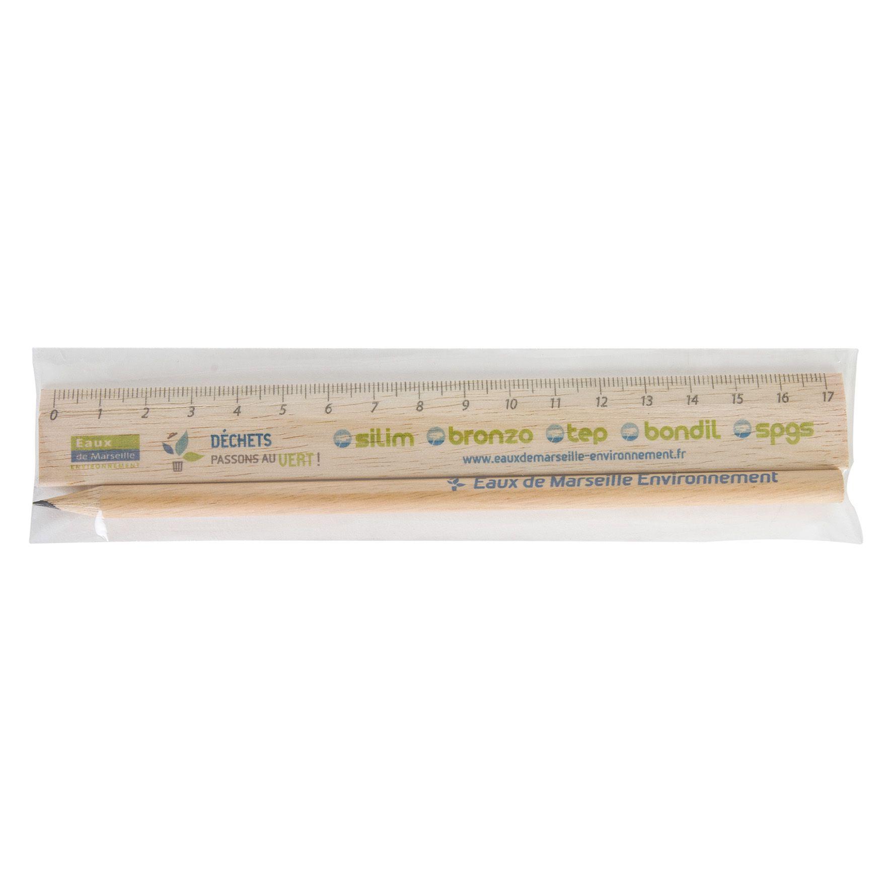 Cadeau publicitaire écologique - Kit règle et crayon à papier personnalisé Eco