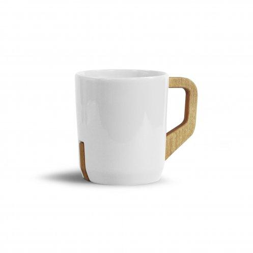 Mug publicitaire sur-mesure avec anse en bois de hêtre Tristan 320 mL 1