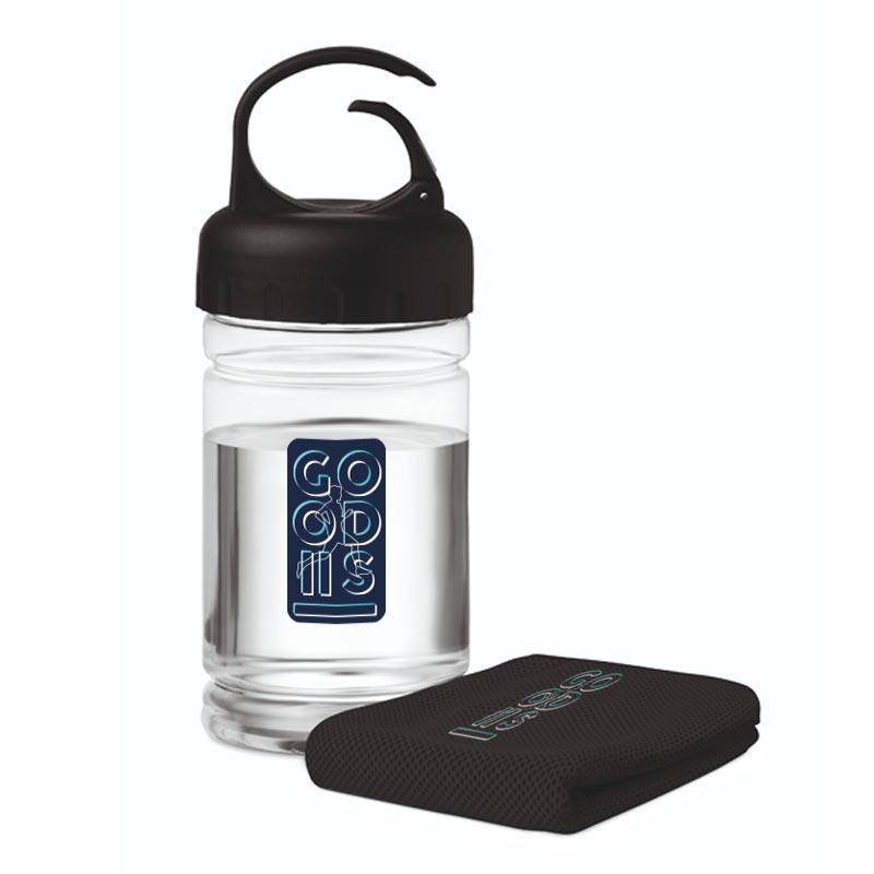 Bouteille publicitaire sport avec serviette en microfibre Fris - Coloris noir