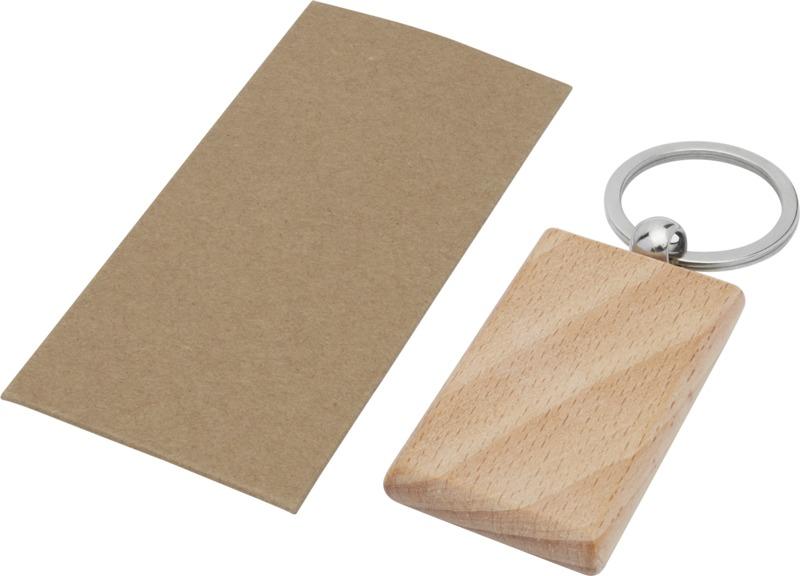 Porte-clés publicitaire rectangulaire en bois de hêtre Gian 2