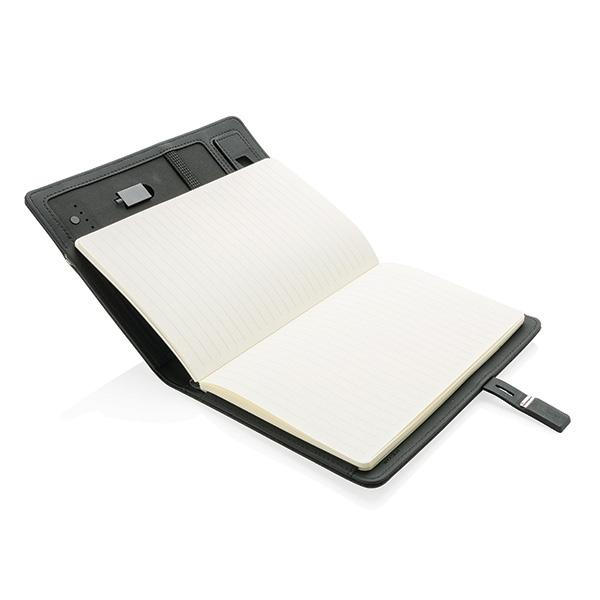 Cadeau d'entreprise - Housse à carnet de notes A5 avec powerbank et clé USB Kyoto