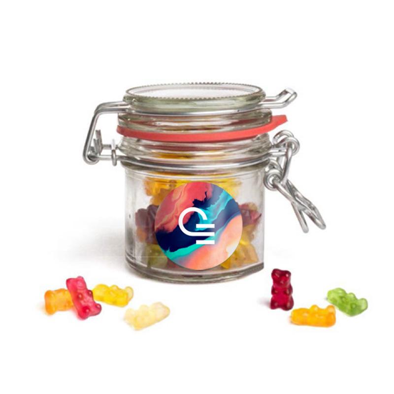 Mini bocal publicitaire vintage avec bonbons