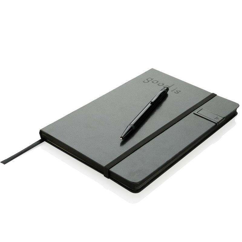 Cadeau d'entreprise - Set carnet publicitaire Loïs clé USB et stylo-stylet rouge