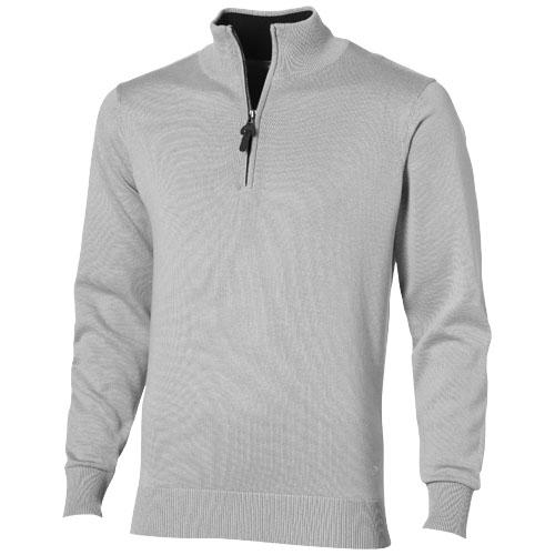 Pullover publicitaire en coton gris col zip Set - textile publicitaire