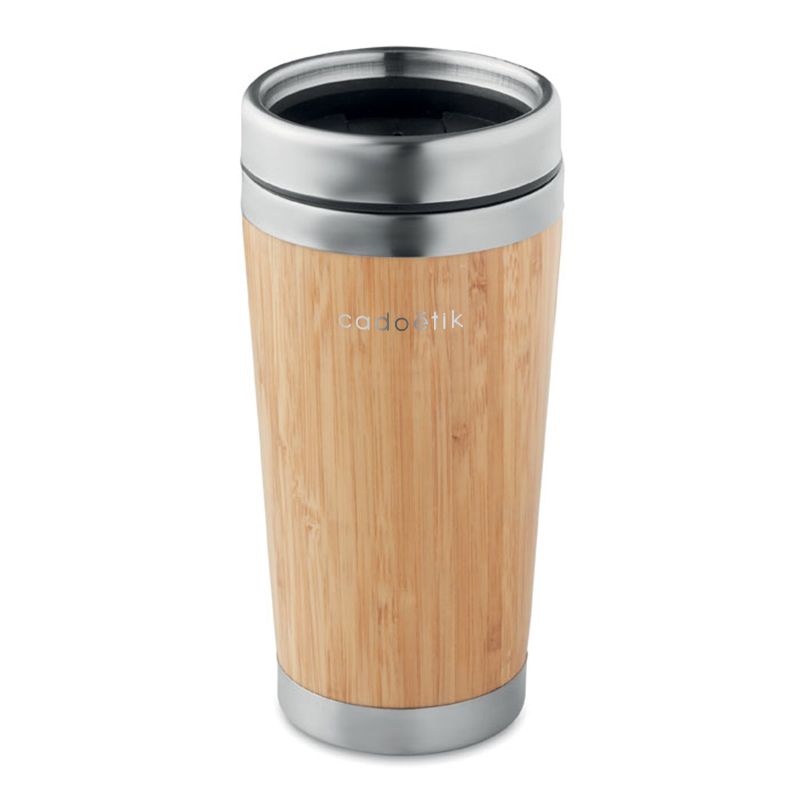 Mug isotherme publicitaire en bambou Rodeo 400 mL