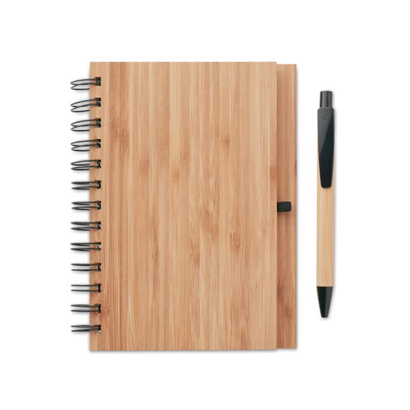 Supporte de communication responsable - Carnet et stylo en bambou Bambloc