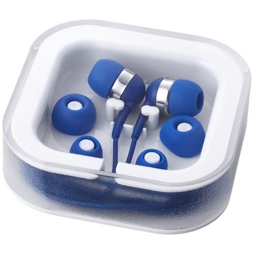 Écouteurs publicitaire Sargas bleu avec micro - Cadeau publicitaire